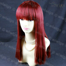 Sexy Heat Resistant Burgundy mix Red Long Ladies Wigs Skin top BANGS WIWIGS UK