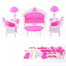 Furniture Set Sofa Chair Lamp Coffee Tea Table for Barbie Dolls House Toys