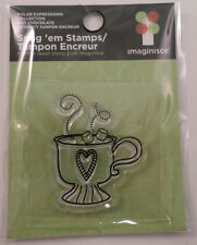Imaginisce Hot Chocolate In a Mug Marshmallows Clear Cling Rubber Stamp
