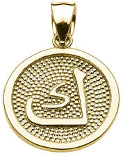 """Yellow Gold Arabic Letter """"kaaf"""" K Initial Charm Pendant"""
