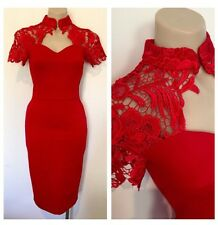 Ladies Oriental Cheongsam Red Lace Wiggle Pinup Vintage Cocktail Dress Size Uk 8