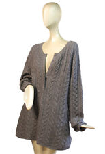 SOFT SURROUNDINGS ~ Large LABEL NOIR Gray 100% CASHMERE Cable Knit Tunic Sweater