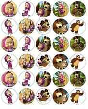 30 x Masha e Orso Cupcake Topper Wafer Commestibile Carta Fata Cake Topper