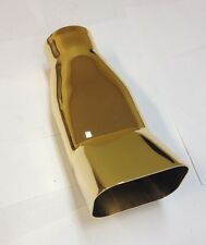 "3 1/2"" DIAM DTM SQUARE GOLD  PLATED STAINLESS STEEL EXHAUST PIPE TIP MT- 5141G"