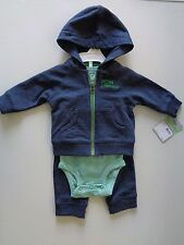 Lot of 3 Baby Boy Carter's 3 piece set Hoodie romper pants Boys clothes size 3 M
