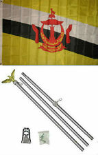 3x5 Brunei Flag Aluminum Pole Kit Set 3'x5'