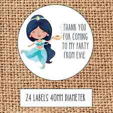 Princess Party bag stickers 24 thank you for coming sweet cone birthday Jasmine