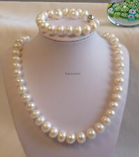 Genuine12-13mm oblate freshwater pearl necklace+bracelet+earrings;L55cm & 19cm