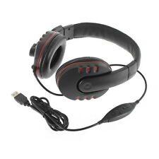 Luxury Headset USB Headphone Microphone GAME Headset for PS3/PC Black Red FT