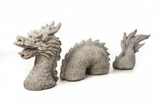 Impresionante 3 pieza fundido Dragón de Piedra Decoración De Jardín Escultura