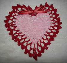 """New Hand Crochet Pink/Red Valentine's Day Heart Doily, 6"""" Ribbon"""