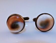 VINTAGE ANTIQUE ART DECO OPERCULUM SHELL EYE CUFF LINKS