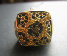 "NEW ""GOSSIP"" CHEETAH PEEK-A-BOO CRYSTAL RHINESTONE WATCH RING Gold Expandable"
