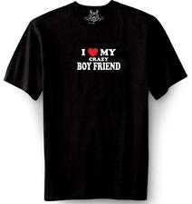 NEW Mens Printed I LOVE MY CRAZY BOY FRIEND FUNNY MMA DOPE BLACK-M T-SHIRT TEE