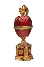 Russian Decorative Faberge Egg / Trinket Jewel Box with Chicken red 8 cm