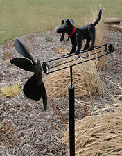 Black Lab Whirligig Dog Wind Spinner Outdoor Art Yard Stake