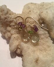 14k solid yellow gold Green Amethyst Briolette earrings