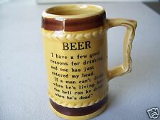 Rare Specialty Industries Porcelain Shot Mug With Bar Joke On Mini Beer Stein