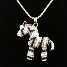 Fashion  Little zebra crystal mosaic pendant long necklace Sweater chain DL167