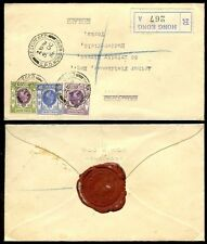 HONG KONG KG5 REGISTERED 1936 WOO + WOO ENVELOPE + SEAL 3 COLOUR to HUDDERSFIELD
