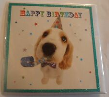 Party Pup Cute Cocker Spaniel Puppy Dog in party hat birthday card glitter