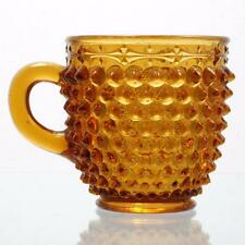 Antique EAPG Amber Glass Mug Pointed Hobnail with Ornamental Band Columbia Glass