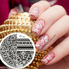 Chic Lace Floral Nail Art Stamping Template Templet Image Plate 02