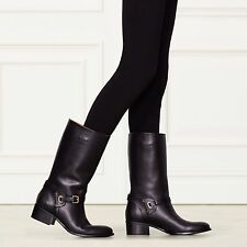 NIB $1100 Ralph Lauren Collection Sacha Black Sport Calfskin Boot EU 37 (US 7 )