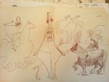 Saul Steinberg lithograph rare signed 6 22x15 horses and hat