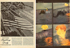 1945 WW2 Article MOVIE FIGHTING LADY photos of Japanese Planes on fire  110615