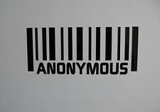 2 x ANONYMOUS Barcode vinyl Stickers / Decals for Cars or Bikes  12 colours