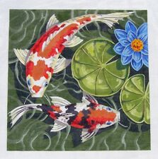 Labors of Love LG. Oriental Koi Goldfish Pond #1 handpainted Needlepoint Canvas