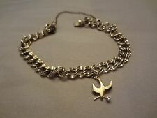 VINTAGE GOLD FILLED CHARM  BRACELET WITH GOLD FILLED DOVE CHARM-DOUBLE LINKS AND