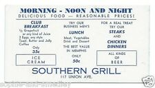 1930s Ink Blotter - Southern Grill - Memphis, Tennessee