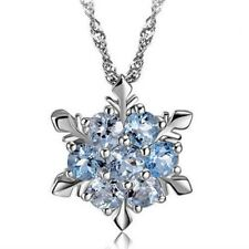 new Fashion 1pcs  925 Silver Dazzing Snowflake Blue Crystal Sapphire Pendant
