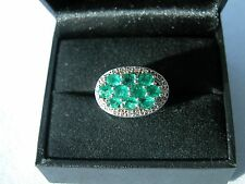 LOT 407 BRAZILIAN EMERALD + WHITE TOPAZ SOLID STERLING SILVER RING SIZE J 1/2