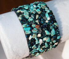 Blue Howlite and Crystal magnetic band/wrap/cuff bracelet (size 7)
