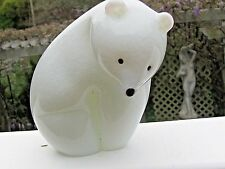 """Orient and Flume Signed Art Glass Polar Bear: Mottled White,3.75"""" x 4.5"""",w. tag"""