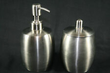 Bathroom/bedroom toiletry holder set - brushed stainless steel - pump and jar