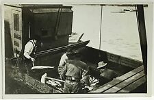 RPPC Real Photo Postcard Men At Work On Commercial Fishing Boat ~ Occupation