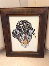Stunning Minimalist Crouching Cougar Artist Signed Oil Painting On Canvas~Estate