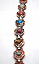 LADIES HEALING 7.5 INCH COPPER MAGNETIC THERAPY LINK BRACELET: Hearts 'N Soul