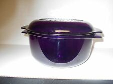VTG 3 PIECE TUPPERWARE-PURPLE MICROWAVE STACK COOKER BOWL ~3 QT ~#2192