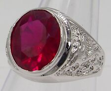MEN RING RED RUBY DRAGON CARVED SILVER 18K WHITE GOLD FILLED GP STONE SIZE 10 b