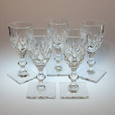 Set of 5 Hawkes Crystal Cordials Cut Glass Cornwall Pattern Square Base Signed