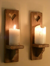 PAIR OF HANDMADE WAXED RUSTIC SHABBY CHIC SOLID WOOD WALL SCONCE CANDLE HOLDERS