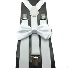 New White Unisex Bow Tie & Suspender Tuxedo Wedding Party Apparel Accessories