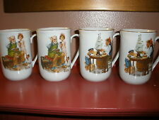 "NORMAN ROCKWELL MUSEUM -FOUR1982 CollectoR Mugs ""The Cobbler"" ""For A Good Boy"""