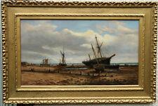 JOHN MOORE IPSWICH 1820-1902 VICTORIAN OIL PAINTING MARINE SEASCAPE  ART BOAT