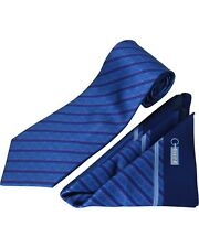 ZILLI 100% Silk Tie & Pocket Square Set Blue/Grey, Blue/Pink Stripes MSRP $350